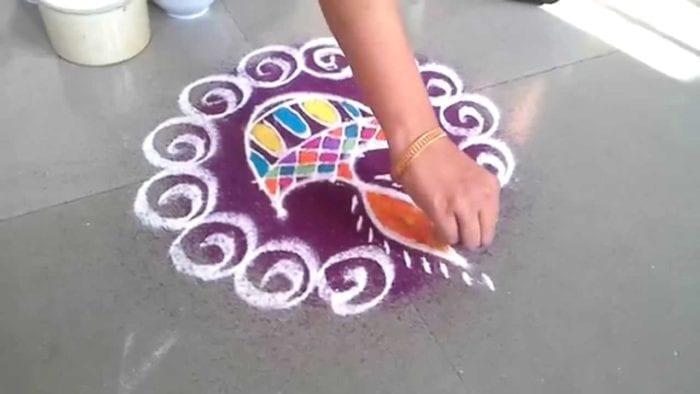 Diya Rangoli Designs for Diwali